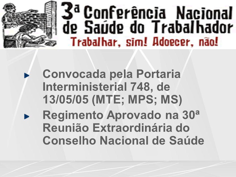 Convocada pela Portaria Interministerial 748, de 13/05/05 (MTE; MPS; MS)