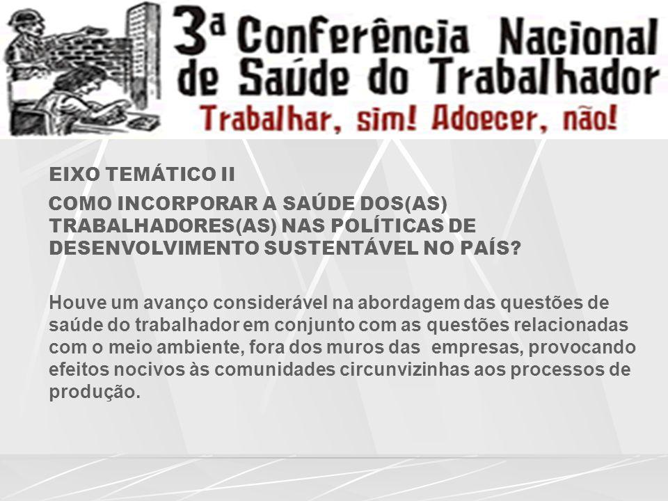 EIXO TEMÁTICO II COMO INCORPORAR A SAÚDE DOS(AS) TRABALHADORES(AS) NAS POLÍTICAS DE DESENVOLVIMENTO SUSTENTÁVEL NO PAÍS