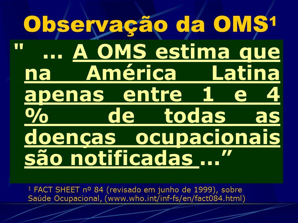 Observação da OMS1 ... A OMS estima que na América Latina apenas entre 1 e 4 % de todas as doenças ocupacionais são notificadas ...