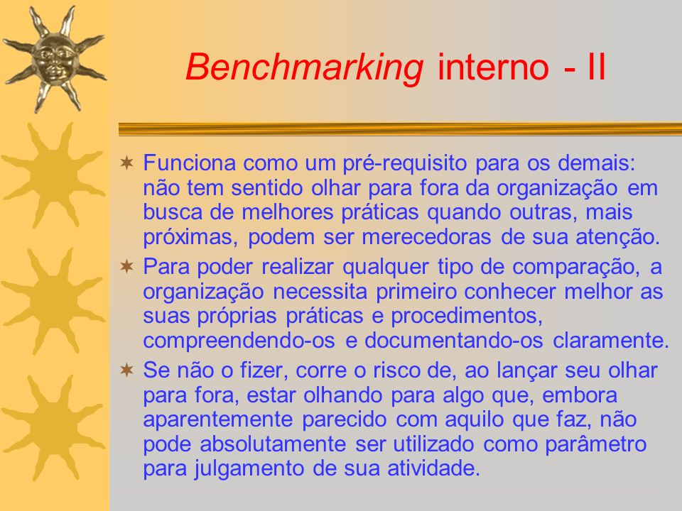 Benchmarking interno - II