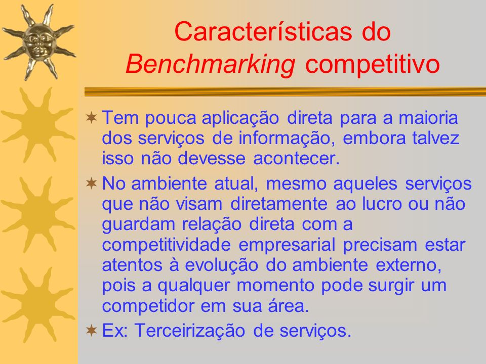 Características do Benchmarking competitivo