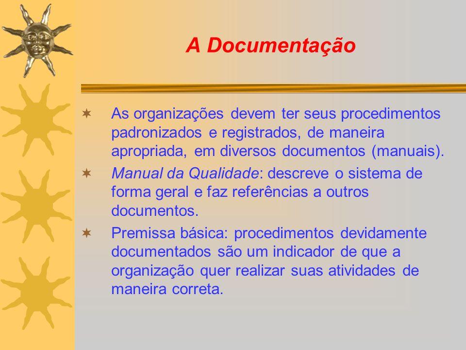 A Documentação As organizações devem ter seus procedimentos padronizados e registrados, de maneira apropriada, em diversos documentos (manuais).