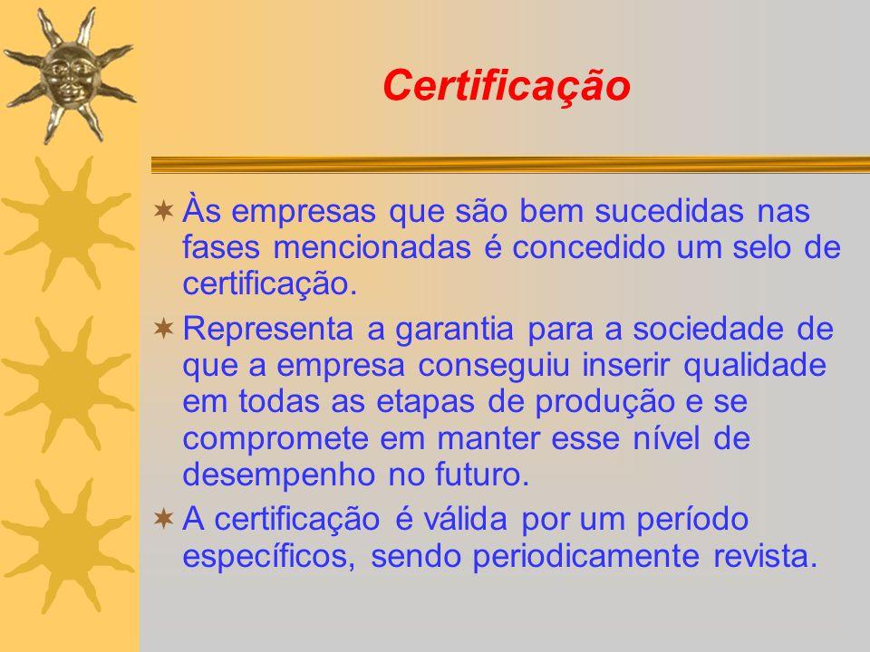 Certificação Às empresas que são bem sucedidas nas fases mencionadas é concedido um selo de certificação.