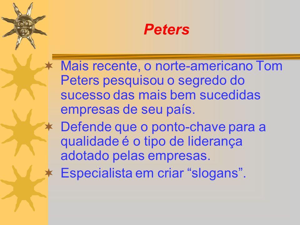 PetersMais recente, o norte-americano Tom Peters pesquisou o segredo do sucesso das mais bem sucedidas empresas de seu país.