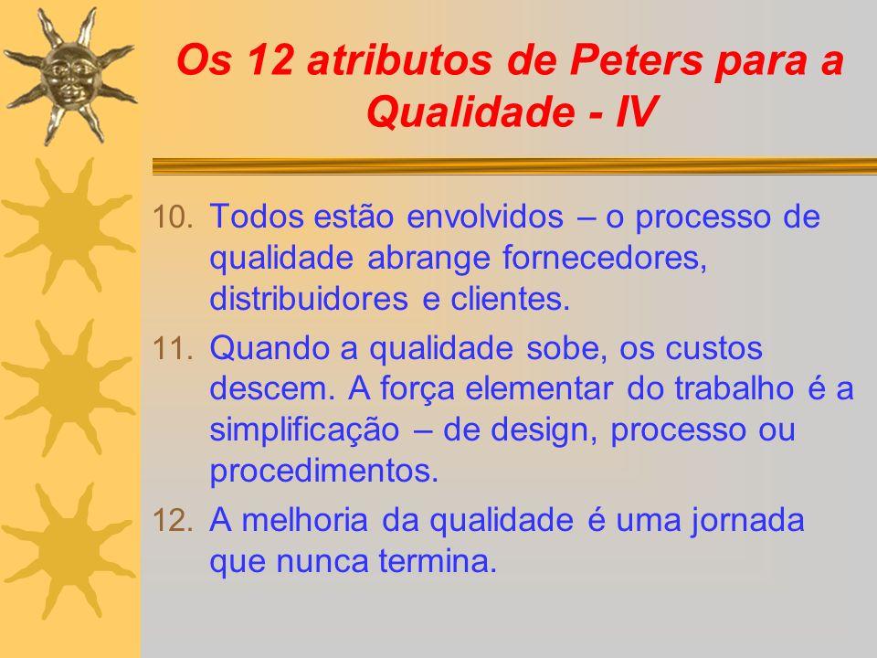 Os 12 atributos de Peters para a Qualidade - IV
