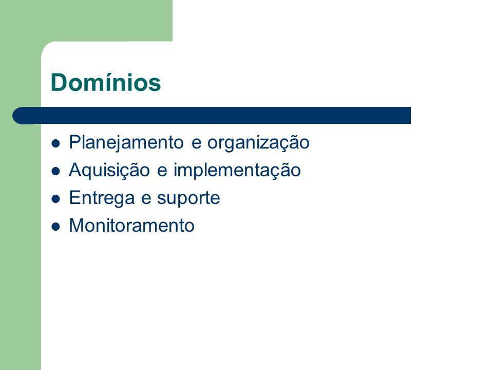 Domínios Planejamento e organização Aquisição e implementação