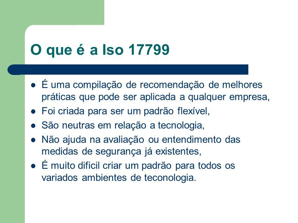 O que é a Iso 17799 É uma compilação de recomendação de melhores práticas que pode ser aplicada a qualquer empresa,