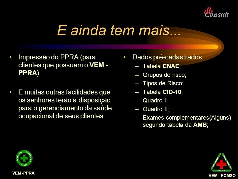 VEM - PCMSO E ainda tem mais... Impressão do PPRA (para clientes que possuam o VEM - PPRA).