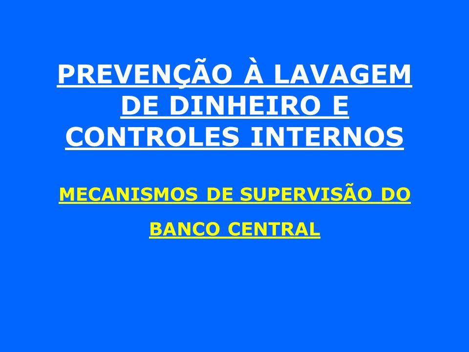 PREVENÇÃO À LAVAGEM DE DINHEIRO E CONTROLES INTERNOS MECANISMOS DE SUPERVISÃO DO BANCO CENTRAL