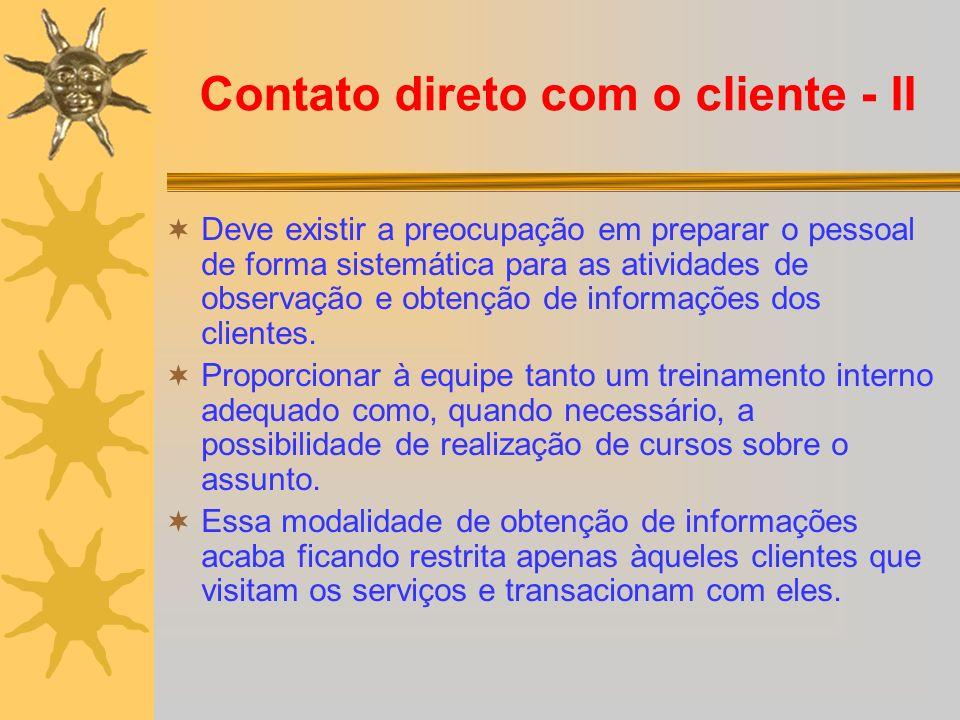 Contato direto com o cliente - II