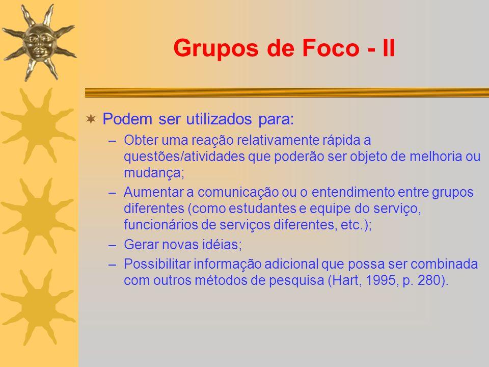 Grupos de Foco - II Podem ser utilizados para: