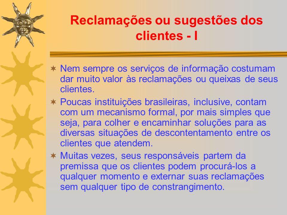 Reclamações ou sugestões dos clientes - I