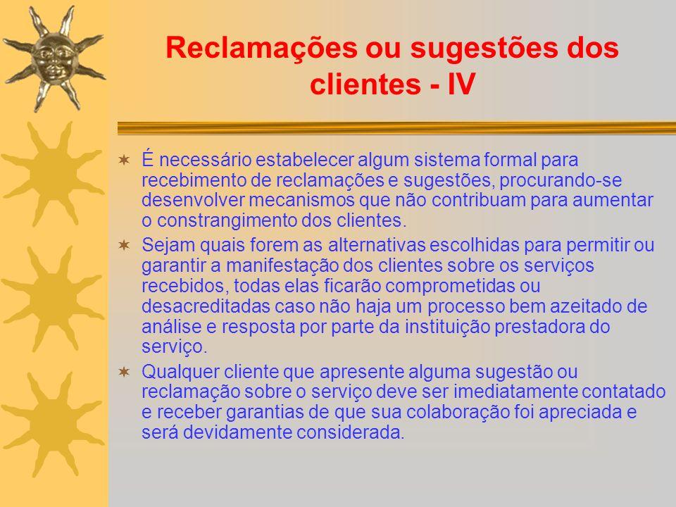 Reclamações ou sugestões dos clientes - IV