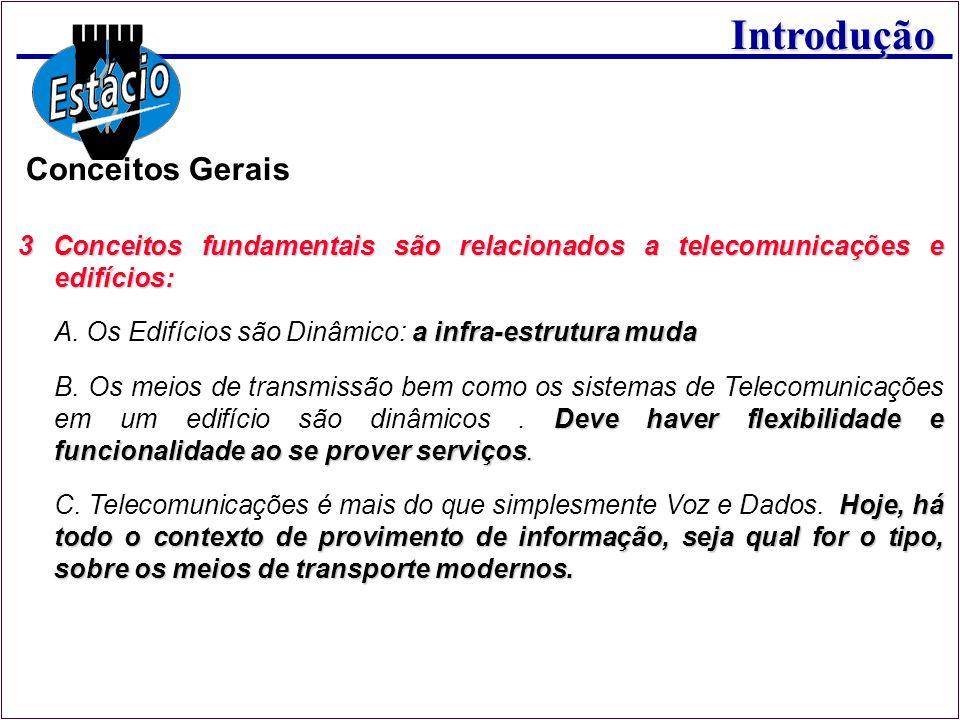 Conceitos Gerais 3 Conceitos fundamentais são relacionados a telecomunicações e edifícios: A. Os Edifícios são Dinâmico: a infra-estrutura muda.