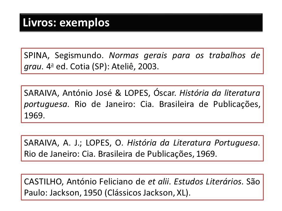 Livros: exemplos SPINA, Segismundo. Normas gerais para os trabalhos de grau. 4a ed. Cotia (SP): Ateliê, 2003.