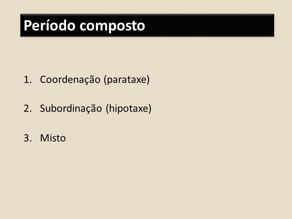 Período composto Coordenação (parataxe) Subordinação (hipotaxe) Misto