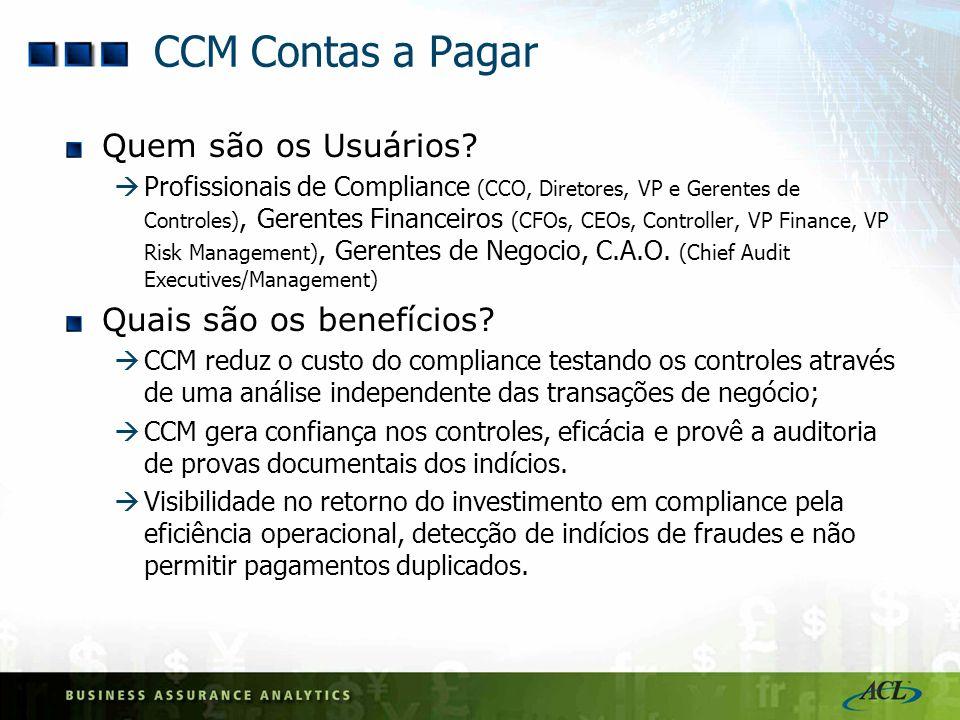 CCM Contas a Pagar Quem são os Usuários Quais são os benefícios