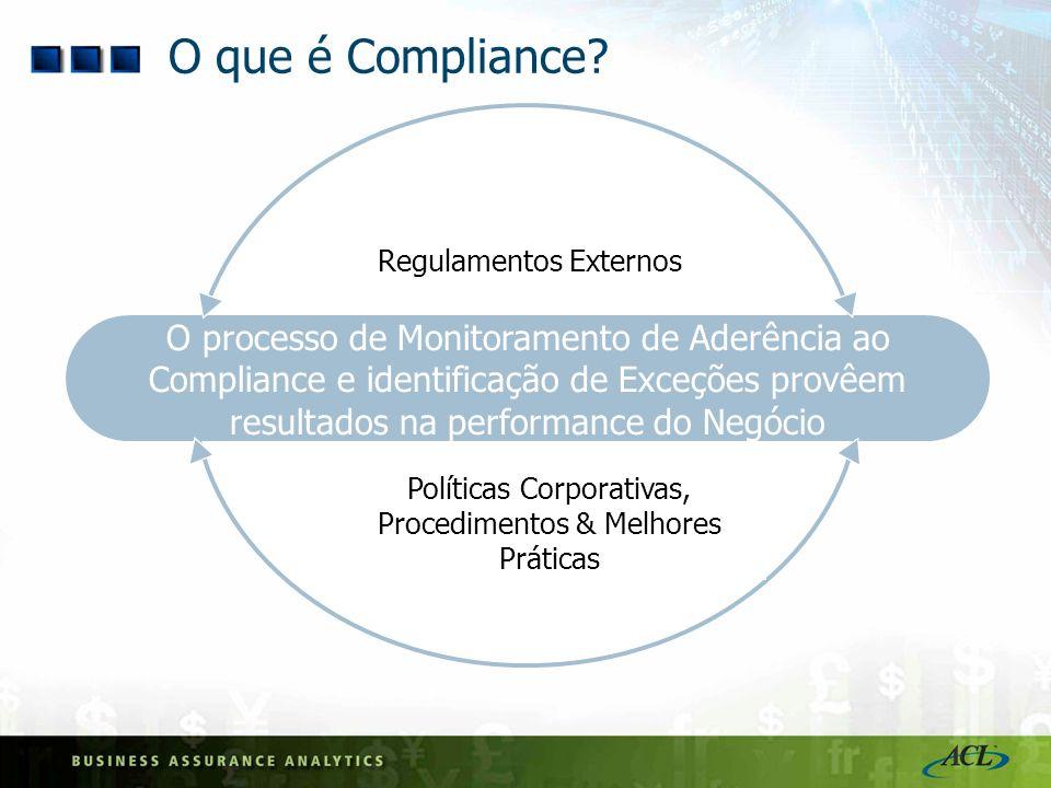 O que é Compliance O processo de Monitoramento de Aderência ao Compliance e identificação de Exceções provêem resultados na performance do Negócio.