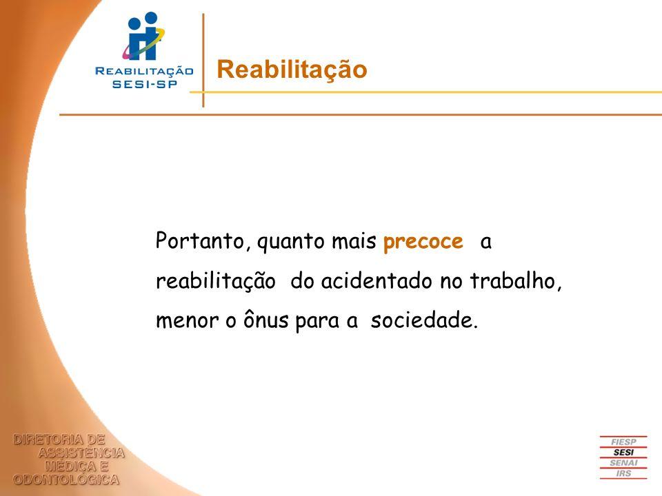 Reabilitação Portanto, quanto mais precoce a reabilitação do acidentado no trabalho, menor o ônus para a sociedade.