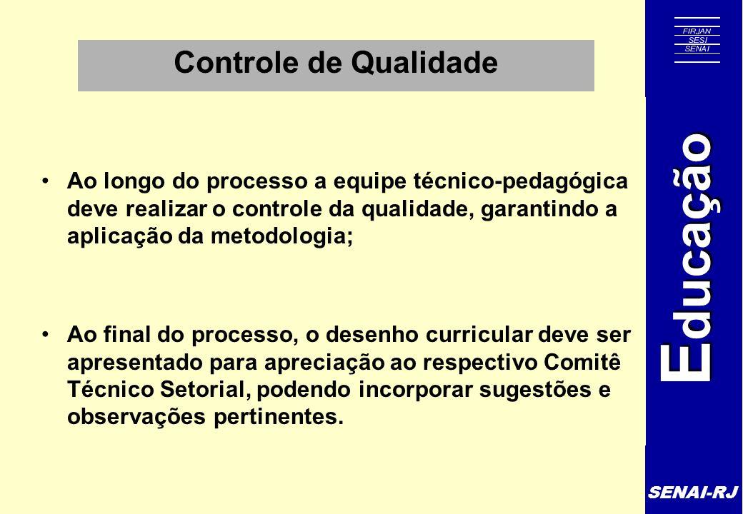 Controle de Qualidade Ao longo do processo a equipe técnico-pedagógica deve realizar o controle da qualidade, garantindo a aplicação da metodologia;