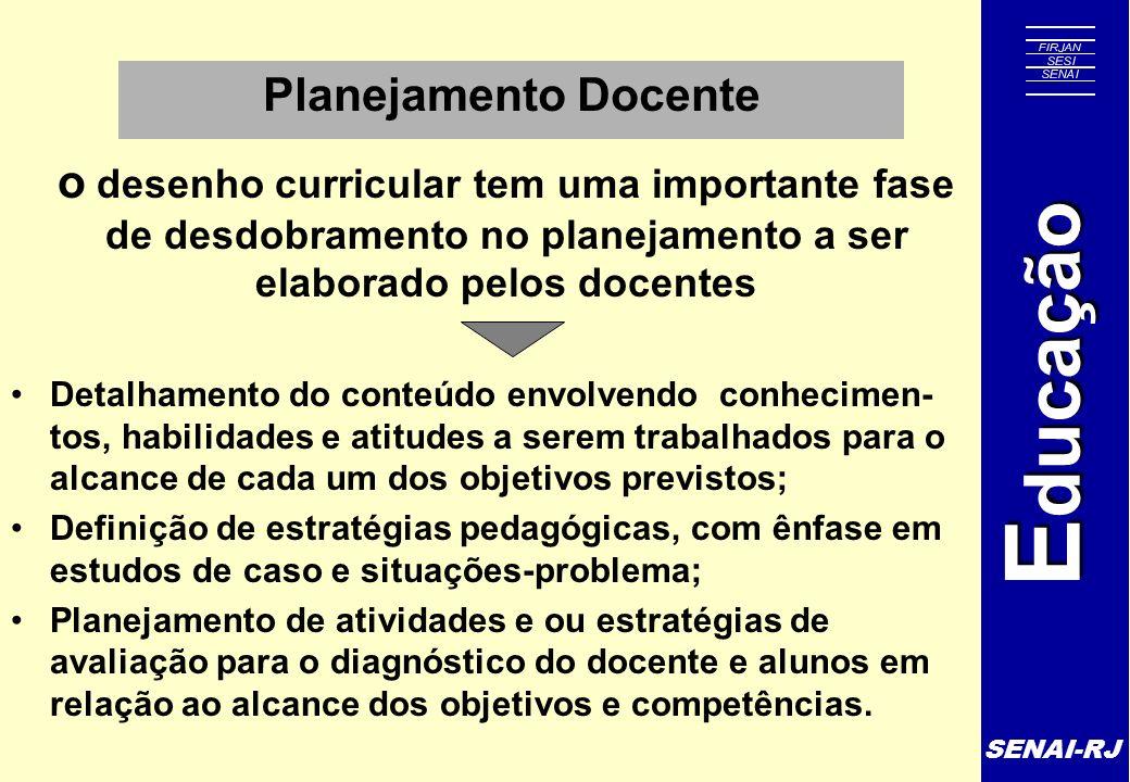 Planejamento Docente o desenho curricular tem uma importante fase de desdobramento no planejamento a ser elaborado pelos docentes.