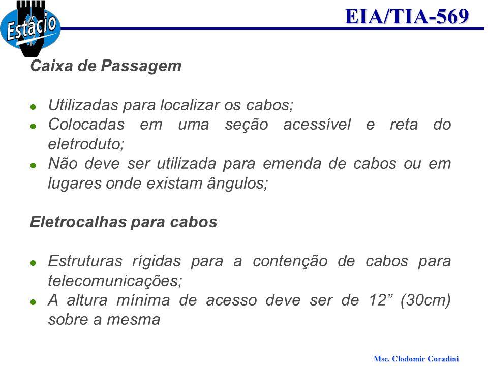 Caixa de Passagem Utilizadas para localizar os cabos; Colocadas em uma seção acessível e reta do eletroduto;
