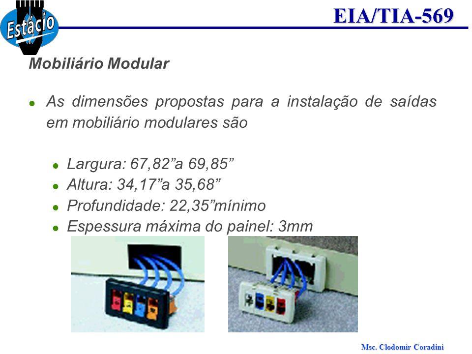 Mobiliário Modular As dimensões propostas para a instalação de saídas em mobiliário modulares são. Largura: 67,82 a 69,85