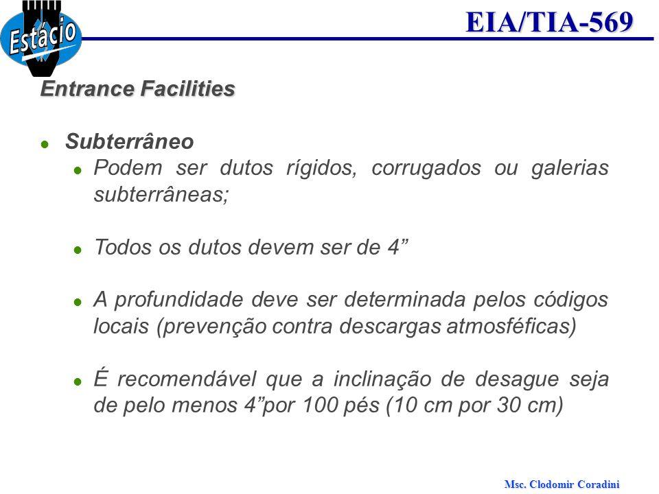 Entrance Facilities Subterrâneo. Podem ser dutos rígidos, corrugados ou galerias subterrâneas; Todos os dutos devem ser de 4