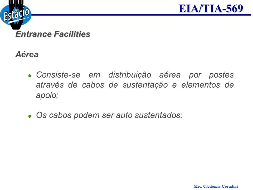 Entrance Facilities Aérea. Consiste-se em distribuição aérea por postes através de cabos de sustentação e elementos de apoio;
