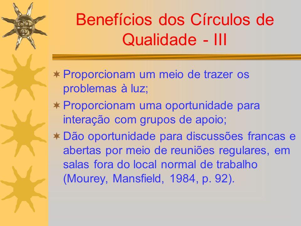 Benefícios dos Círculos de Qualidade - III