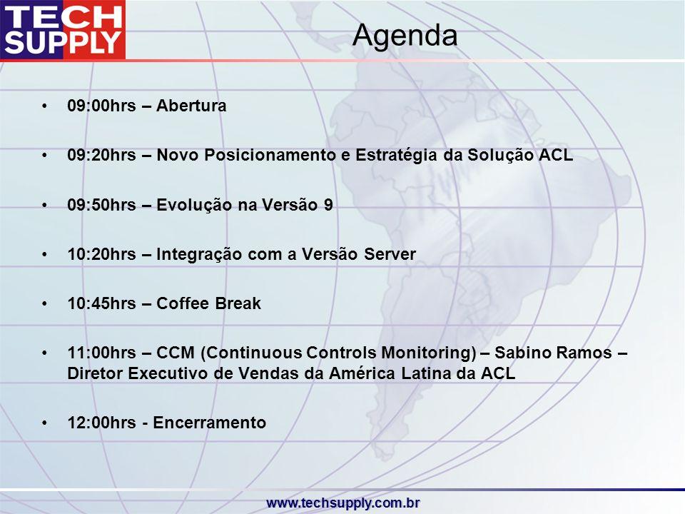 Agenda 09:00hrs – Abertura. 09:20hrs – Novo Posicionamento e Estratégia da Solução ACL. 09:50hrs – Evolução na Versão 9.