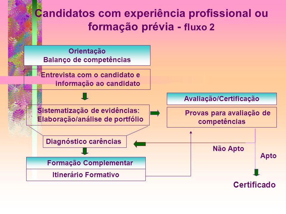 Candidatos com experiência profissional ou formação prévia - fluxo 2