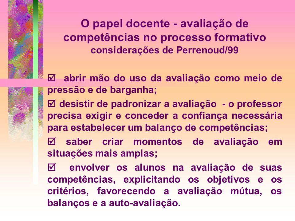 O papel docente - avaliação de competências no processo formativo considerações de Perrenoud/99