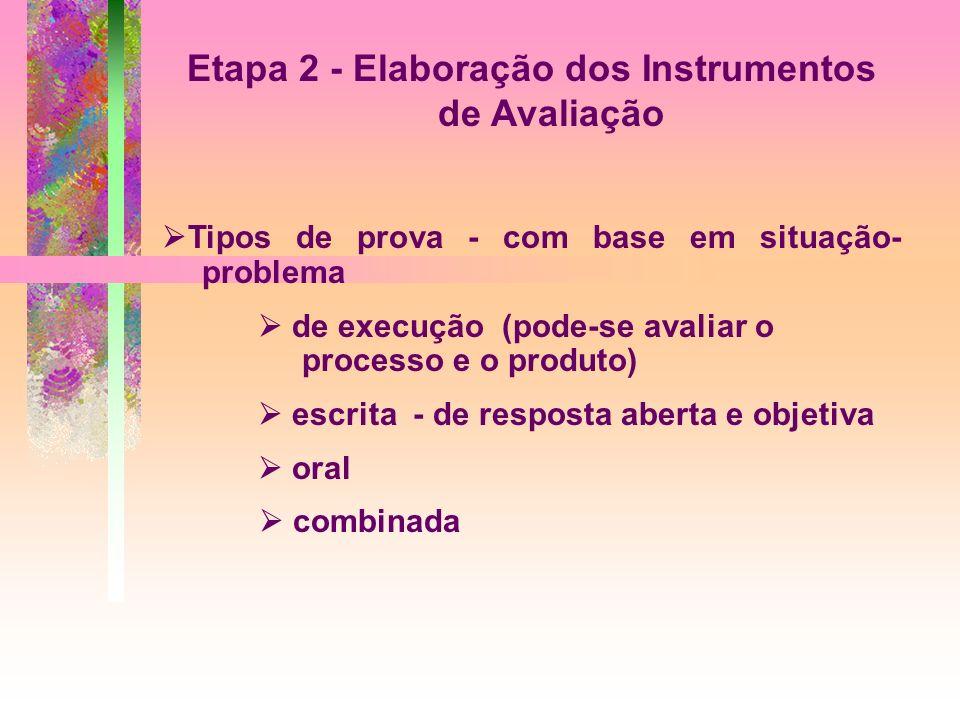 Etapa 2 - Elaboração dos Instrumentos de Avaliação