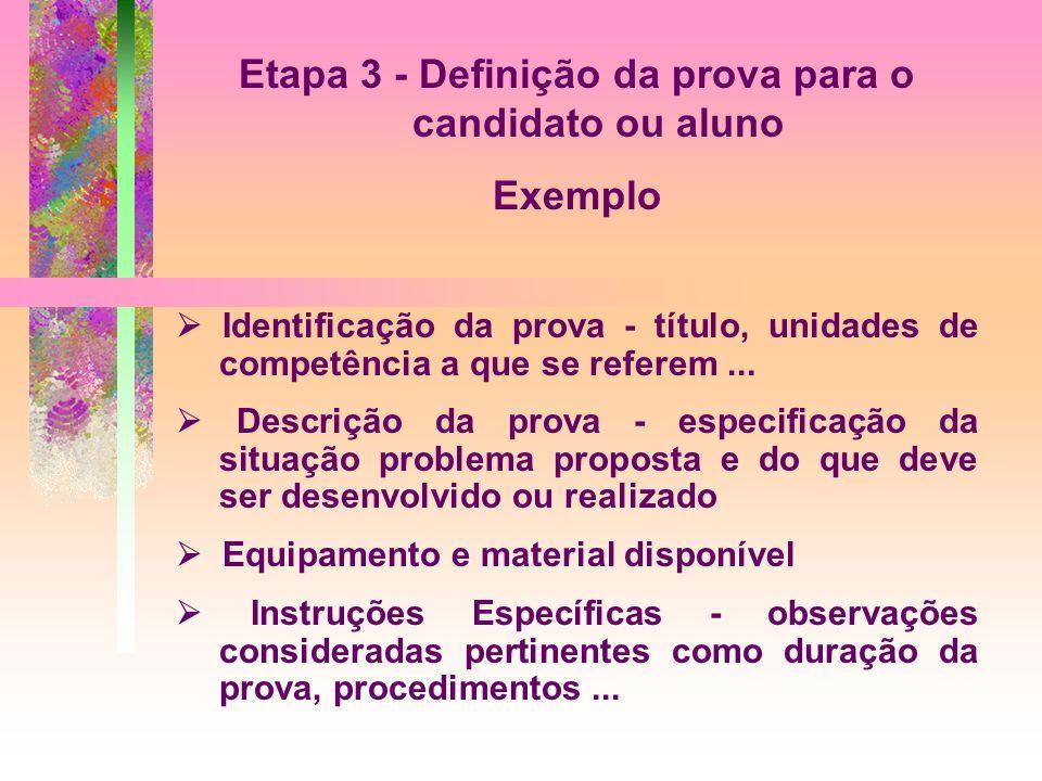 Etapa 3 - Definição da prova para o candidato ou aluno