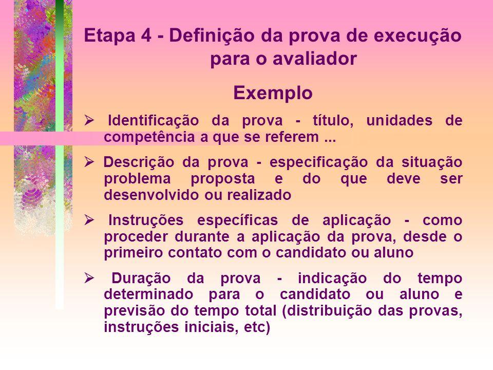 Etapa 4 - Definição da prova de execução para o avaliador