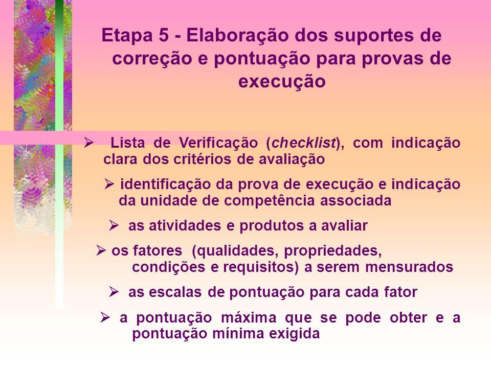 Etapa 5 - Elaboração dos suportes de correção e pontuação para provas de execução