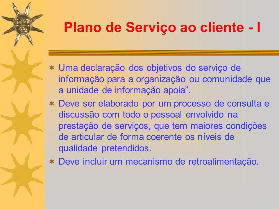 Plano de Serviço ao cliente - I