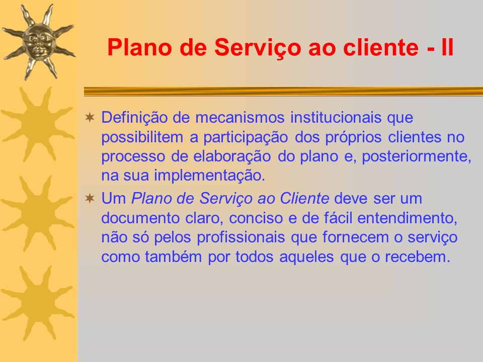Plano de Serviço ao cliente - II