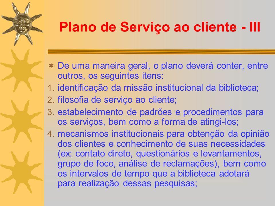 Plano de Serviço ao cliente - III
