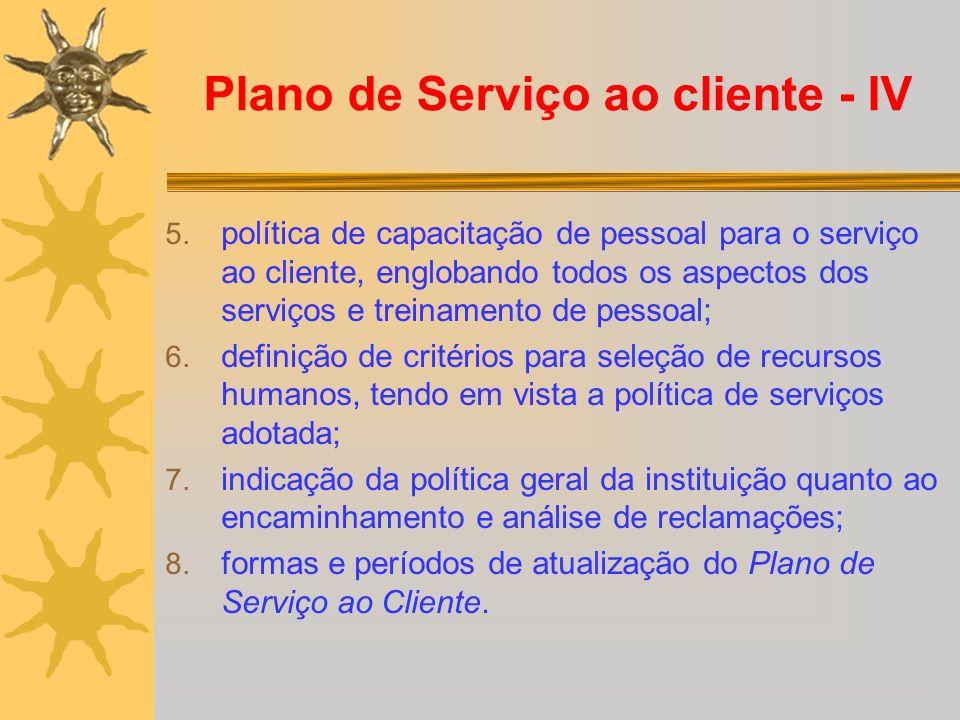 Plano de Serviço ao cliente - IV