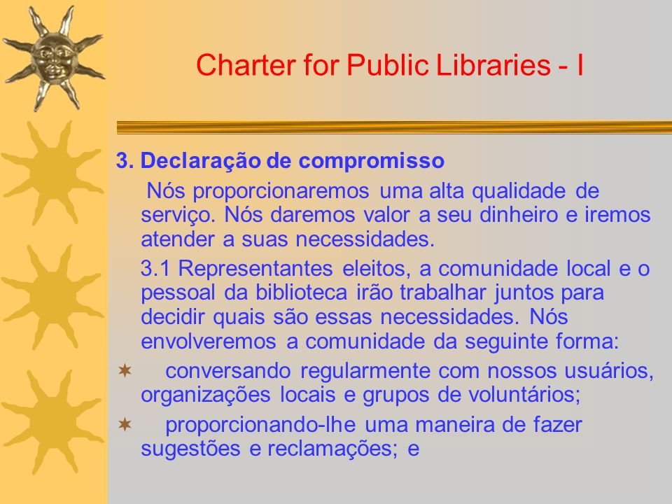 Charter for Public Libraries - I