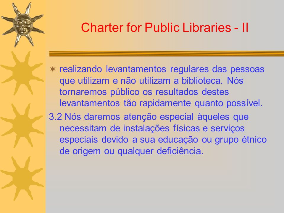 Charter for Public Libraries - II
