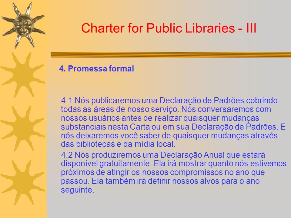 Charter for Public Libraries - III