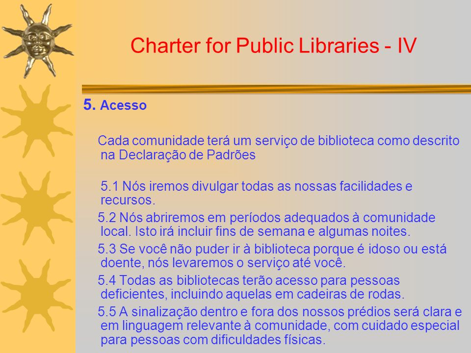 Charter for Public Libraries - IV