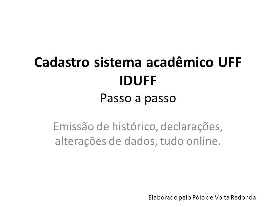 Cadastro sistema acadêmico UFF IDUFF Passo a passo