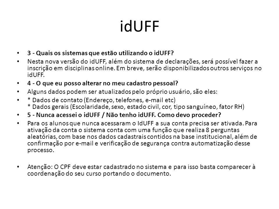 idUFF 3 - Quais os sistemas que estão utilizando o idUFF