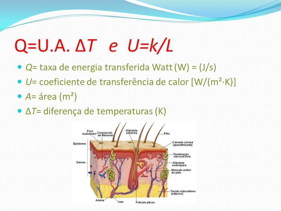 Q=U.A. ΔT e U=k/L Q= taxa de energia transferida Watt (W) = (J/s)