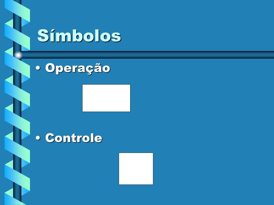 Símbolos Operação Controle