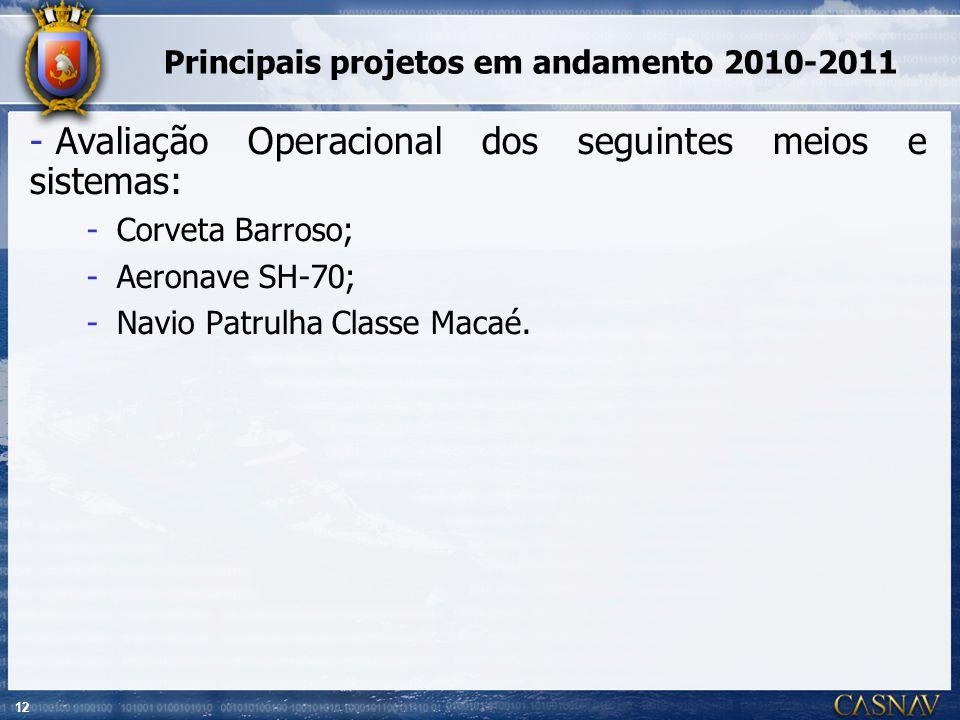 Principais projetos em andamento 2010-2011